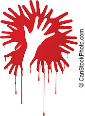 Abstract bloody hands. Illustration on white background