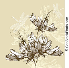 Abstract blooming flowers flying dr