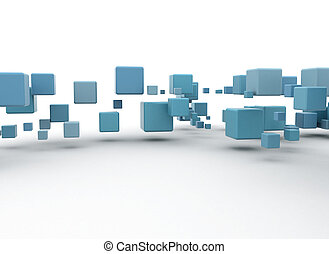 Abstract blue 3d boxes