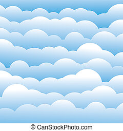 abstract blue 3d fluffy clouds background (backdrop) - vector graphic. This illustration contains layers of clouds in light blue color