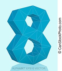Abstract Blue 3D polygonal 8 with reflection. EPS 10 vector.