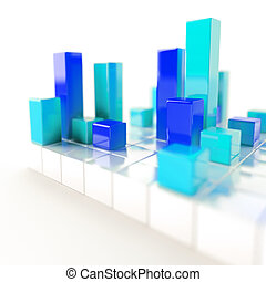 Abstract blue and cyan metallic cubes on a white