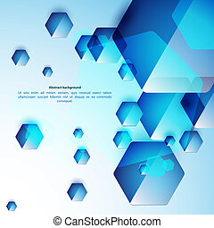 Abstract blue and glass hexahedrons background. Use for your...
