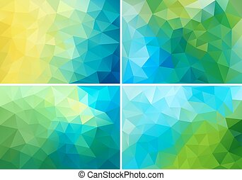 blue and green low poly backgrounds