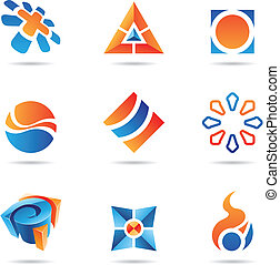 Abstract blue and orange Icon Set 22