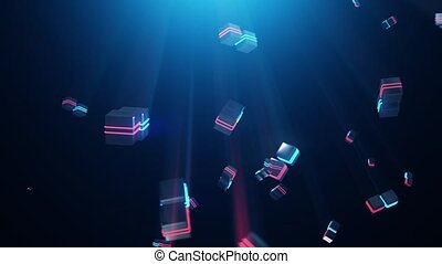 Abstract blue and red neon squares HD