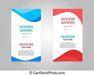 Abstract blue and red vertical banner set