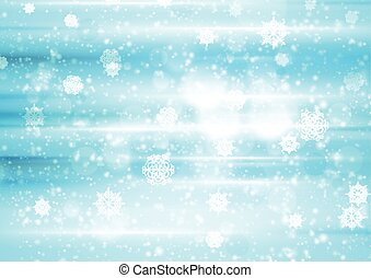 Abstract blue and white bokeh Christmas background
