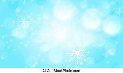 Abstract blue and white bokeh Christmas motion background