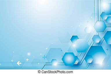 Abstract blue and white hexagons repeating and futuristic technology concept background