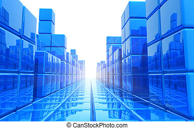 Abstract blue architectural backgro