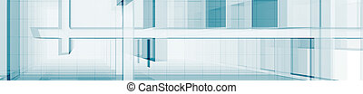 Abstract blue architecture 3d rendering