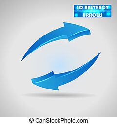 abstract blue arrows 3d vector