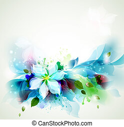 Backgrounds with floral - Abstract blue artistic Backgrounds...
