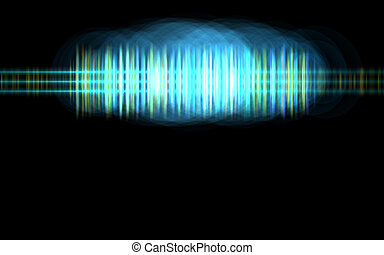 Abstract blue audio spectrum waveform on black background