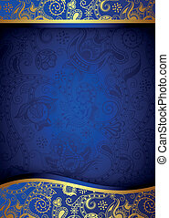 Illustraiton of abstract blue and gold background.
