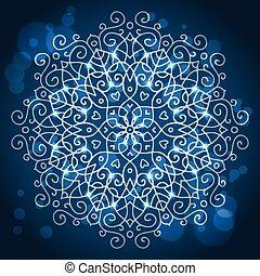 Abstract blue background, mandala