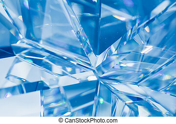 abstract blue background of crystal refractions