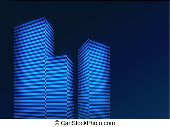 Abstract blue background with buildings. Vector illustration