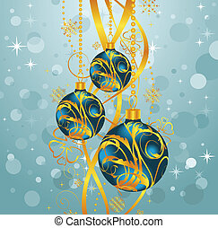 abstract blue background with Christmas balls - Illustration...