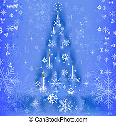 Abstract blue background with Christmas tree shape.