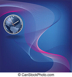 Abstract blue background with clock