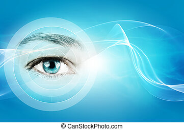 abstract blue background with closeup of human eye