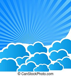 abstract blue background with clouds and rays