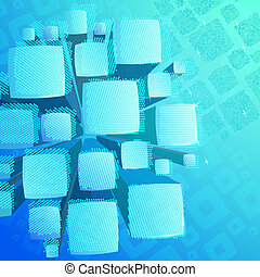 Abstract blue background with cube mosaic
