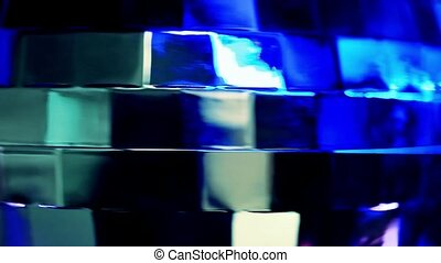Abstract blue background with disco ball. Changes colors