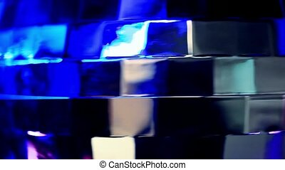 Abstract blue background with disco ball.