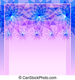 Abstract blue background with flowers