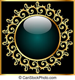 blue background with glass ball and gold(en) pattern