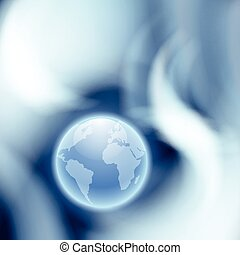 Abstract blue background with globe