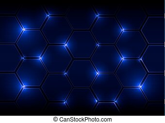 Abstract blue background with hexagons and light