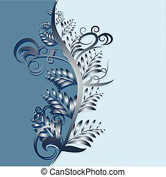 abstract blue background with leaves illustration
