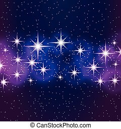 Abstract blue background with shining stars.