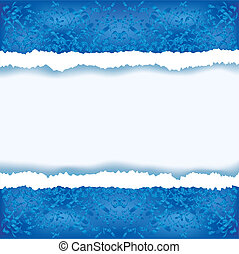 Abstract blue background with torn paper