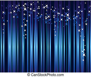 Abstract blue background with vertical stripes and stars