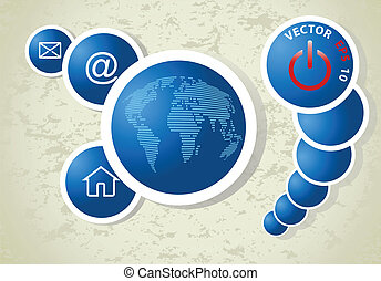 abstract blue background with World map, vector
