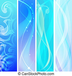 abstract blue banners set.