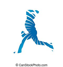 Abstract blue baseball player
