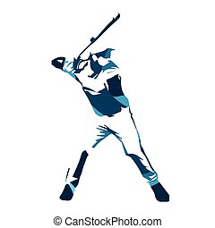 Abstract blue baseball player, vector isolated illustration....