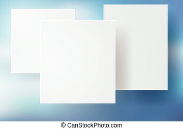 Abstract blue bokeh Background with white square, vector