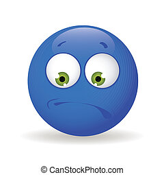 boring - abstract blue boring emoticon on white background