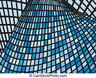 Abstract Blue Boxes Curved