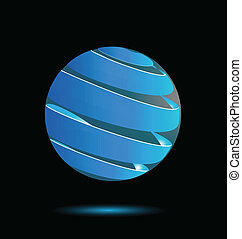 Abstract blue bubble 3d logo
