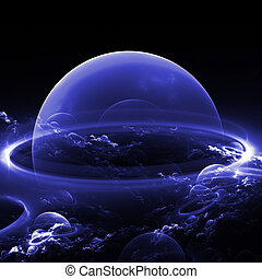 blue bubble - abstract blue bubble planets with abstract...