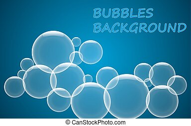 Abstract blue bubbles background.