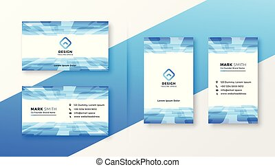 abstract blue business card template set